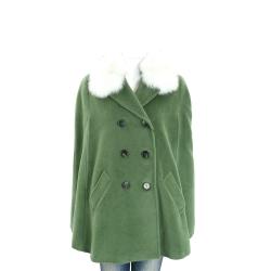 MARELLA 綠色狐狸毛飾邊羊毛斗篷外套(95%WOOL)