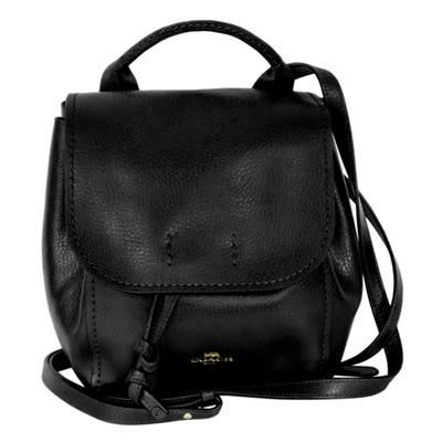 COACH黑色柔軟全皮多重搭配斜背/後背水桶包(小)