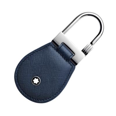 萬寶龍十字紋牛皮鑰匙圈-藍