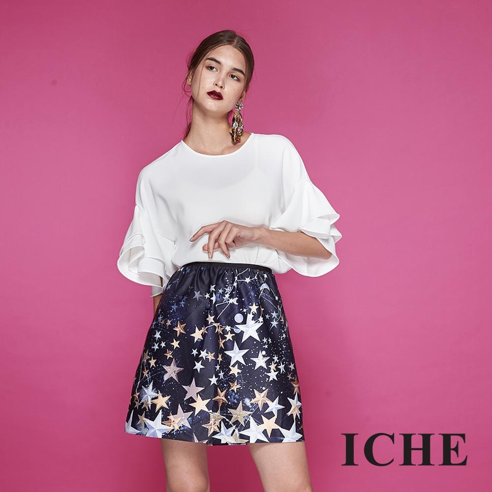ICHE衣哲 時尚星星印花滑面光澤感造型圓裙-藍