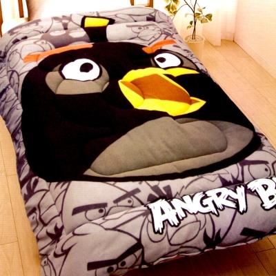 ANGRY BIRDS 憤怒鳥搖粒絨暖暖厚毯被5x6.5呎 黑鳥