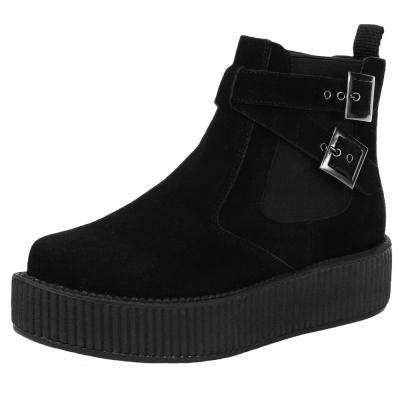 TUK VIVA 輕量麂皮交叉扣環厚底靴-黑