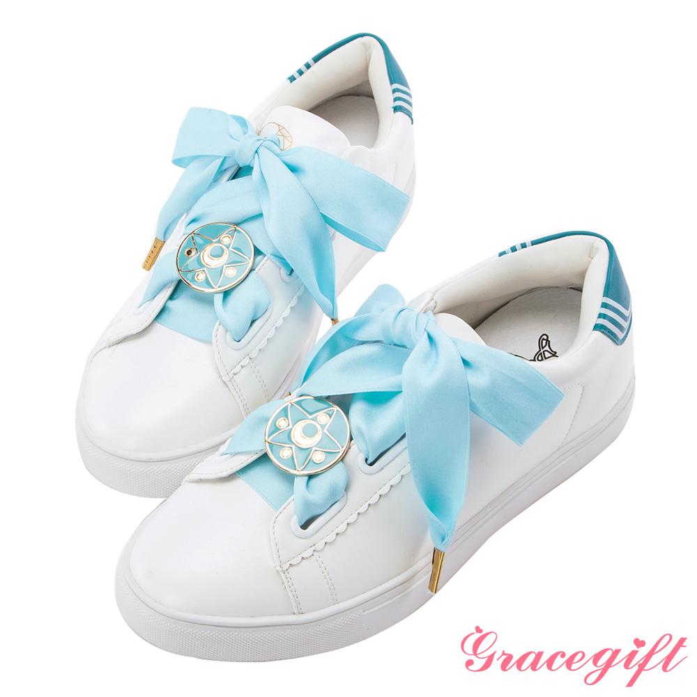 Grace gift-美少女戰士變身器緞帶休閒鞋 淺藍