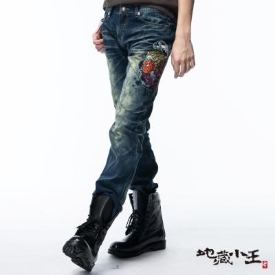 地藏小王-BLUE-WAY-側臉骷髏低腰直筒褲
