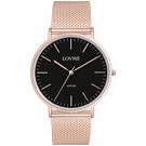 LOVME 城市簡約風手錶-IP玫x黑/41mm