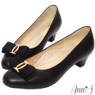Ann'S名媛氣質-織帶全真羊皮低跟包鞋-黑