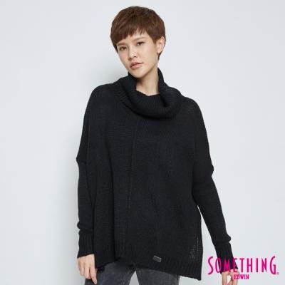 SOMETHING 高領時尚毛衣-女-黑色