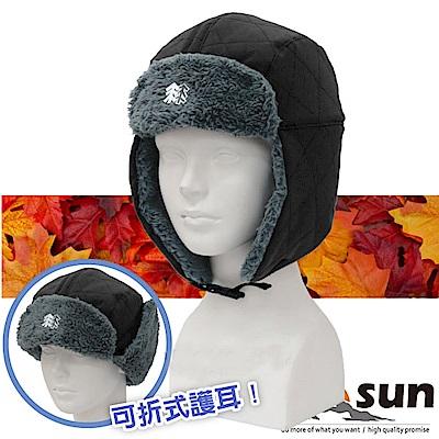 【VOSUN】高效防風透氣保暖兩用遮陽護耳帽子_黑