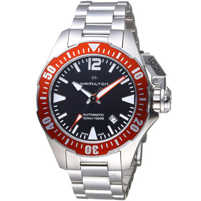 Hamilton 漢米爾頓卡其海軍系列蛙人腕錶-黑x紅/42mm