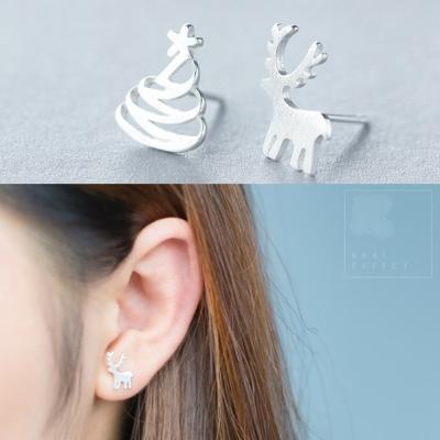 梨花HaN-韓國極簡925銀小麋鹿和樹耳環