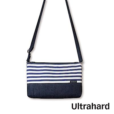 Ultrahard 丹寧多功能收納斜背包(藍白條紋)