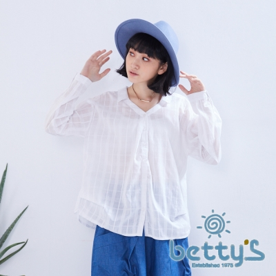 betty's貝蒂思 V領格紋傘狀長袖襯衫(白色)