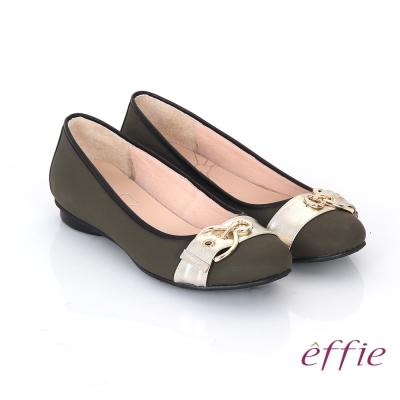 effie 都會休閒 全真皮金屬皮帶飾扣低跟鞋 橄欖綠色