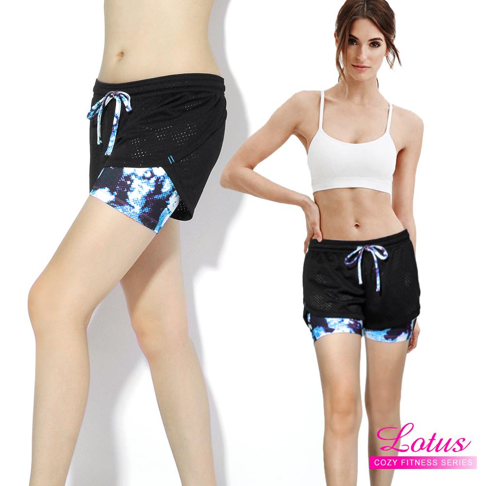 運動褲 防走光彈力排汗透氣網布雙層運動短褲-冰河藍 快速到貨 LOTUS