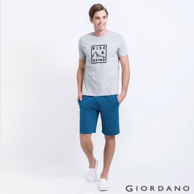 GIORDANO 男裝簡約素色抽繩腰頭休閒五分褲-05 雪花深藍