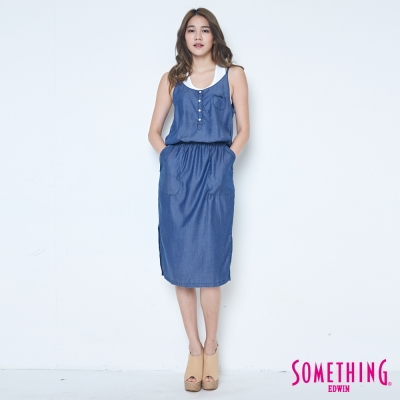 SOMETHING 天絲®細肩帶牛仔洋裝-女-原藍色