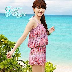 【AngelLuna日本泳裝】波西米亞三件式比基尼泳衣-粉色