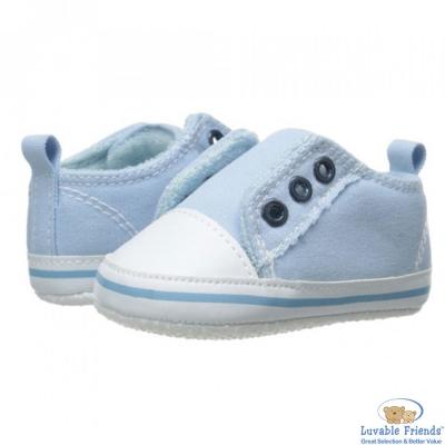 Luvable Friends 水藍色免穿鞋帶止滑學步嬰兒鞋