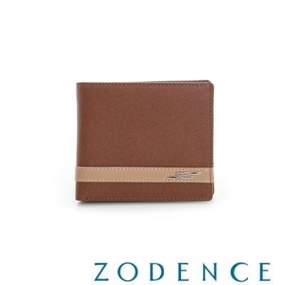ZODENCE MAN 義大利牛皮系列條紋配色兩折零錢短夾 駝
