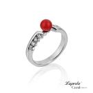 大東山珠寶 全紅珊瑚純銀戒指 珠光寶氣