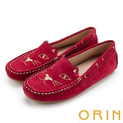 ORIN 俏麗女孩 貓咪電繡牛皮平底便鞋-紅色