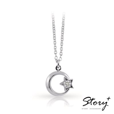 STORY故事銀飾-浪漫星月-純銀項鍊(白K金)