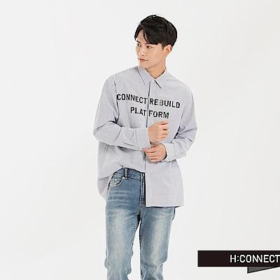 H:CONNECT 韓國品牌 男裝 - 直紋印字襯衫-深藍