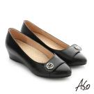 A.S.O 拇指外翻 真皮飾釦奈米楔型跟鞋 黑色