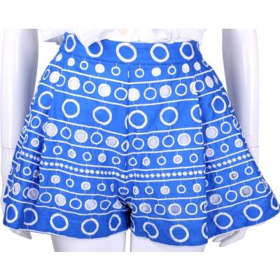 BOUTIQUE MOSCHINO 藍色圈圈刺繡拼接縷空短褲裙