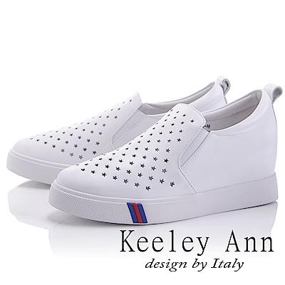Keeley Ann 休閒假期~透氣鏤空星星內增高休閒鞋(白色-Asin系列)