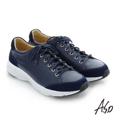 A.S.O 3D超動能 全真皮綁帶奈米機能休閒鞋 藍色