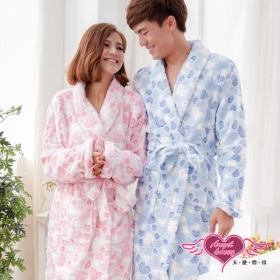 保暖睡袍 甜蜜愛意 一件式珊瑚絨連身睡衣(粉or藍F) AngelHoney天使霓裳