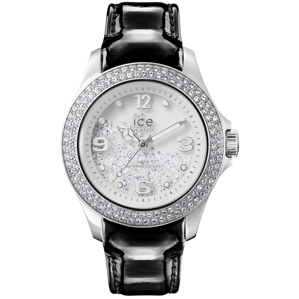 Ice-Watch 水晶系列 璀燦星鑽手錶-銀x黑皮帶/43mm