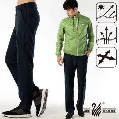 【遊遍天下】男款涼爽超顯瘦彈性多口袋吸濕排汗抗UV長褲P132丈青