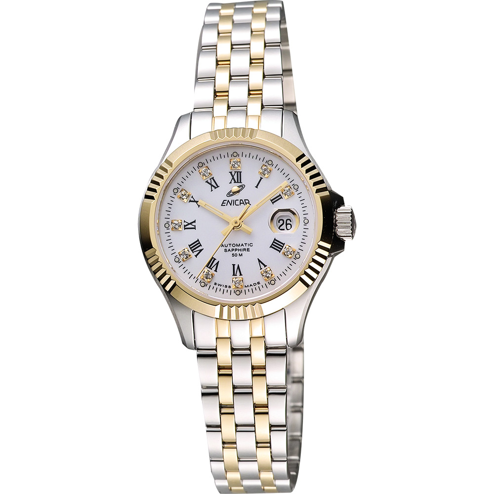 ENICAR 英納格 自動系列羅馬晶鑽機械女錶-白x雙色版/28mm