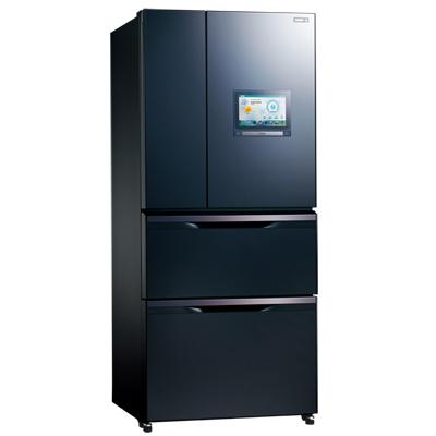 福利品SAMPO聲寶PAD 560升變頻四門玻璃冰箱SR-NW56PI B3