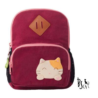 ABS貝斯貓 可愛貓咪手工拼布小型後背包 (暗紅) 88-211