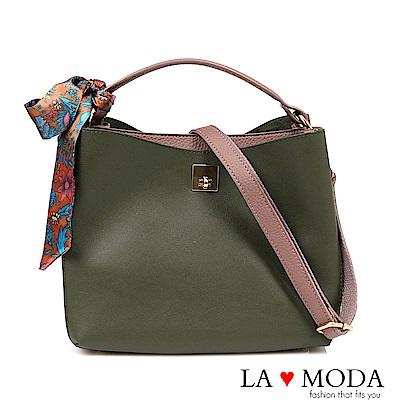 La Moda 優雅氣質緞帶蝴蝶結配飾大容量手挽肩背斜背包(綠色)