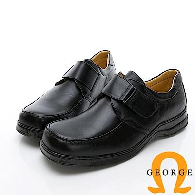 GEORGE 喬治-商務系列 魔鬼氈素面紳士方頭皮鞋-黑