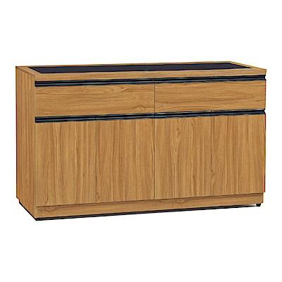 品家居 蜜莉5.1尺柚木紋玻璃餐櫃下座-151.8x40.6x82.4cm免組