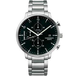 ISSEY MIYAKE三宅一生 C系列簡約三眼計時手錶-黑X銀/42mm