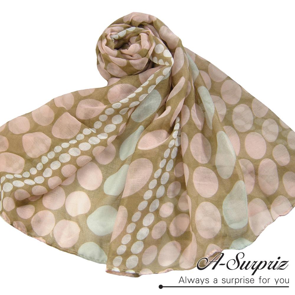 A-Surpriz 夢幻泡泡圓點巴黎紗圍巾(柔美粉)