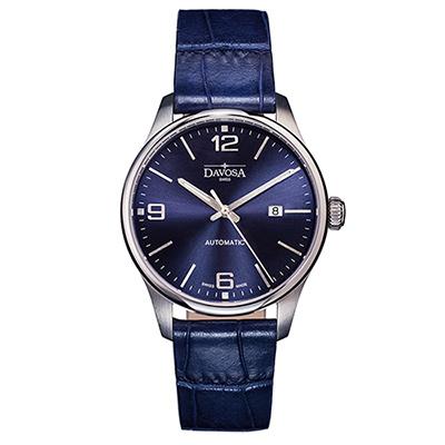 DAVOSA Gentlemen 現代經典紳士系列套裝腕錶-藍面/藍色皮帶/40mm