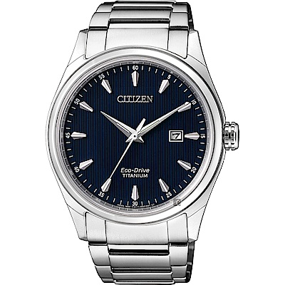 CITIZEN 星辰光動能鈦金屬手錶-藍x銀/41mm(BM7360-82L)