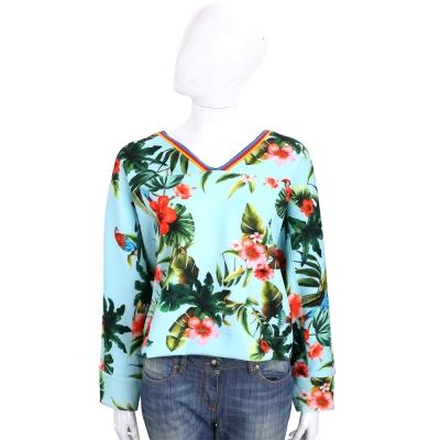 PINKO 水綠色熱帶棕櫚印花V領長袖上衣
