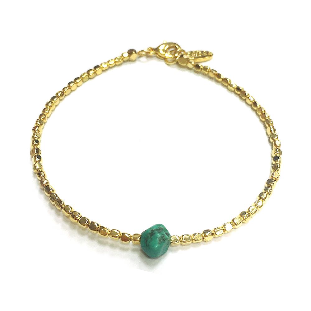 Ettika 金色腳鍊 鑲土耳其藍 綠松石 寶石切面金塊 超百搭