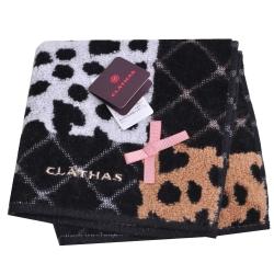 CLATHAS 可愛蝴蝶結品牌字母LOGO刺繡菱格紋小方巾(黑底)
