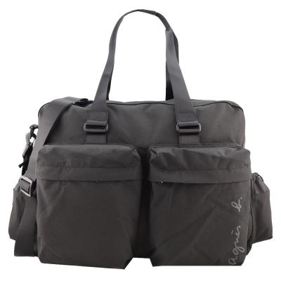 agnes b. 簽名版帆布大旅行袋(黑)