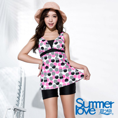 夏之戀SUMMERLOVE 粉紅圓點假兩截連身四角泳衣