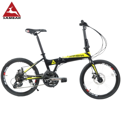 SAMBAR SB-07 20吋451小刀圈輪組24速鋁合金碟煞折疊單車-黑黃